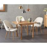 Oxford 70cm Solid Oak Extending Dining Table with Halifax Fabric Chairs