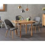Oxford 70cm Solid Oak Extending Dining Table with Halifax Faux Leather Chairs