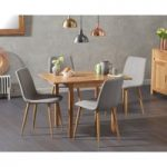 Oxford 70cm Solid Oak Extending Dining Table with Helsinki Fabric Chairs