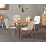 Oxford 70cm Solid Oak Extending Dining Table with Helsinki Faux Leather Chairs