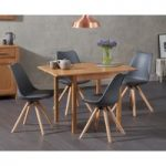 Oxford 70cm Solid Oak Extending Dining Table with Oscar Round Leg Faux Leather Chairs