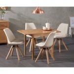 Oxford 70cm Solid Oak Extending Dining Table with Oscar Square Leg Fabric Chairs