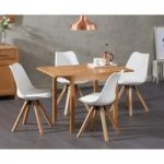 Oxford 70cm Solid Oak Extending Dining Table with Oscar Square Leg Faux Leather Chairs
