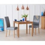 Oxford 80cm Solid Oak Dining Table with Albany Grey Chairs