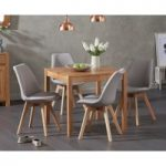 Oxford 80cm Solid Oak Dining Table with Duke Fabric Chairs