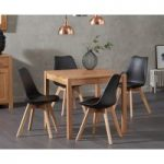 Oxford 80cm Solid Oak Dining Table with Duke Faux Leather Chairs