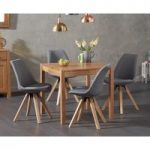 Oxford 80cm Solid Oak Dining Table with Oscar Square Leg Fabric Chairs