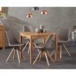 Oxford 80cm Solid Oak Dining Table with Oscar Round Leg Faux Leather Chairs