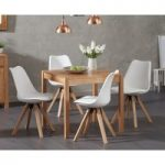 Oxford 80cm Solid Oak Dining Table with Oscar Square Leg Faux Leather Chairs
