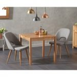 Oxford 80cm Solid Oak Dining Table with Halifax Fabric Chairs