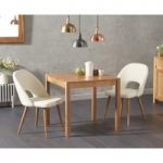 Oxford 80cm Solid Oak Dining Table with Halifax Faux Leather Chairs