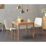 Oxford 80cm Solid Oak Dining Table with Helsinki Fabric Chairs