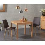 Oxford 80cm Solid Oak Dining Table with Helsinki Faux Leather Chairs