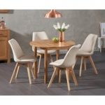 Oxford 90cm Solid Oak Drop Leaf Extending Dining Table with Duke Fabric Chairs