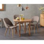 Oxford 90cm Solid Oak Drop Leaf Extending Dining Table with Halifax Fabric Chairs