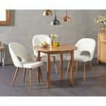 Oxford 90cm Solid Oak Drop Leaf Extending Dining Table with Halifax Faux Leather Chairs