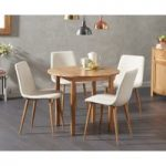 Oxford 90cm Solid Oak Drop Leaf Extending Dining Table with Helsinki Fabric Chairs