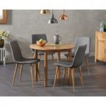 Oxford 90cm Solid Oak Drop Leaf Extending Dining Table with Helsinki Faux Leather Chairs