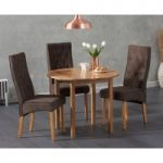 Oxford 90cm Solid Oak Drop Leaf Extending Dining Table with Juliette Fabric Chairs