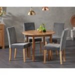 Oxford 90cm Solid Oak Drop Leaf Extending Dining Table with Mia Plush Chairs