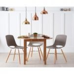 Oxford 90cm Solid Oak Drop Leaf Extending Dining Table with Nordic Wooden Leg Chairs