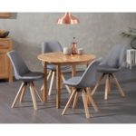Oxford 90cm Solid Oak Drop Leaf Extending Dining Table with Oscar Square Leg Fabric Chairs