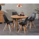 Oxford 90cm Solid Oak Drop Leaf Extending Dining Table with Oscar Square Leg Faux Leather Chairs