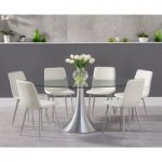 Paloma 180cm Oval Glass Dining Table with Helsinki Faux Leather Dining Chairs