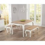Parisian 130cm Shabby Chic Dining Table with Benches