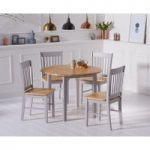Genoa Oak and Grey 100cm Drop Leaf Extending Dining Table and Chairs