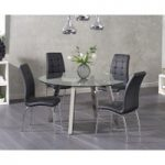 Reece Round Glass Dining Table with Calgary Chairs