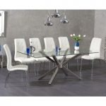 Rhone 200cm Glass Dining Table with Calgary Chairs