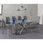Ex-display Rhone 200cm Glass Dining Table with FOUR GREY Cavello Chairs