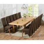 Normandy 220cm Solid Oak Extending Dining Table with Henley Fabric Chairs