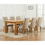 Normandy 220cm Solid Oak Extending Dining Table with Pacific Fabric Chairs