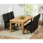 Normandy 180cm Solid Oak Extending Dining Table with Henley Fabric Chairs