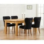 Normandy 150cm Solid Oak Extending Dining Table with Knightsbridge Fabric Chairs