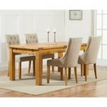 Normandy 150cm Solid Oak Extending Dining Table with Pacific Fabric Chairs