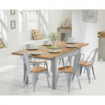 Somerset 130cm Oak and Grey Extending Dining Table with Tolix Industrial Style Oak and Grey Dining Chairs