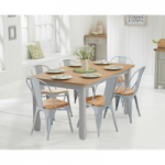 Somerset 150cm Oak and Grey Dining Table with Tolix Industrial Style Oak and Grey Dining Chairs