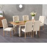 Somerset 130cm Oak and Cream Extending Dining Table with Claudia Cream Fabric Chairs