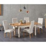 Somerset 130cm Oak and Cream Extending Dining Table with Juliette Cream Fabric Chairs
