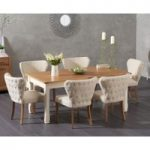 Somerset 180cm Oak and Cream Extending Dining Table with Isobel Fabric Chairs