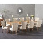 Somerset 180cm Oak and Cream Extending Dining Table with Camille Chairs
