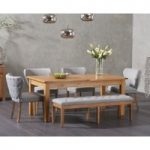 Somerset 180cm Oak Extending Dining Table with Isobel Chairs and Camille Grey Fabric Benches