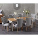 Somerset 180cm Oak and Grey Extending Dining Table with Camille Grey Fabric Chairs