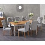 Somerset 180cm Oak and Grey Extending Dining Table with Claudia Grey Fabric Chairs