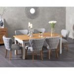 Somerset 180cm Oak and Grey Extending Dining Table with Isobel Fabric Chairs