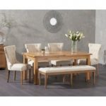 Somerset 180cm Oak Extending Dining Table with Camille Fabric Chairs and Camille Cream Fabric Bench