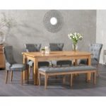 Somerset 180cm Oak Extending Dining Table with Camille Faux Leather Chairs and Camille Grey Faux Benches